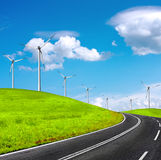 Road and wind turbines Stock Image