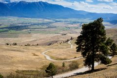 Road Winding Down The Mountain. Road snaking down the mountain at a buffalo park in Montana. Beautiful mountains in the background Stock Photos