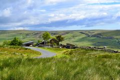 A road through the Yorkshire moors. stock photo