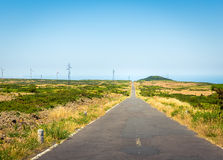 Road with windmills Stock Photo