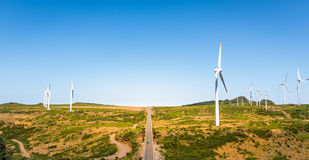 Road with windmills Royalty Free Stock Photo