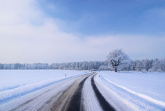 Road in winter Stock Photography