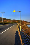 Road in winter afternoon. Take this photo while cycling in winter,on S230 road royalty free stock images