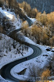 Road in winter. Frozen mountain road, southern Kosovo Royalty Free Stock Photography