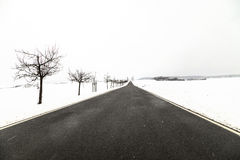 Road in winter landscape in Thuringia. Germany Royalty Free Stock Photos