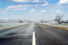 Road. Winter road that leads to nowhere Stock Images