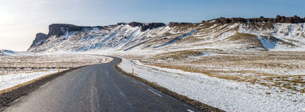 Road Winter Mountain Iceland Stock Photo