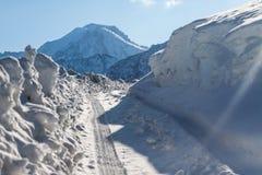 Road in winter mountains in Kazakhstan Royalty Free Stock Photo
