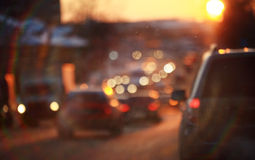 Road in winter night  traffic jams snow Stock Photography