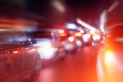 Road in winter night  traffic jams  snow Stock Photos