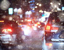 Road in winter night Royalty Free Stock Images
