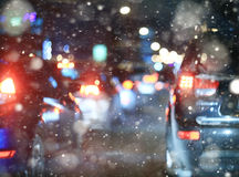 Road in winter night  traffic jams Stock Photo