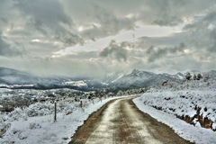 Road in winter, Pyrenees Royalty Free Stock Photography