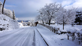 Road and winter at Takayama, Japan Stock Images