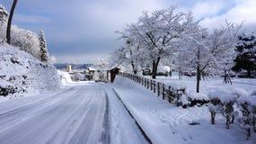 Road and winter at Takayama, Japan Stock Images