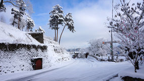 Road and winter at Takayama, Japan Royalty Free Stock Photography