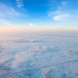 Road in winter tundra, top view Royalty Free Stock Photos