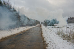Road in wintry countryside Royalty Free Stock Images