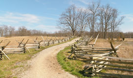 Road and wooden fence. Gettysburg National Military Park road and wooden fence stock photography