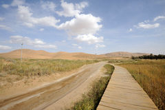 Road and wooden path in desert Royalty Free Stock Photo