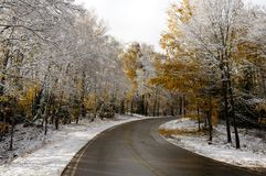 Road and woods after late fall snow Royalty Free Stock Photos