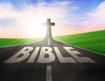 Road with the word Bible. Leading to the cross Stock Photography