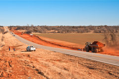 Road Work. Construction to widen a two lane highway Royalty Free Stock Images