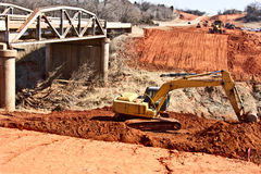 Road Work. Building a new bridge for a highway widening project Royalty Free Stock Images