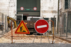 Road work. Under construction - closed road in Lisbon royalty free stock image