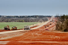 Road Work. Landscape view of a highway widening project Stock Images