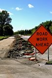 A ``Road Work Ahead` in a construction Zone Royalty Free Stock Image