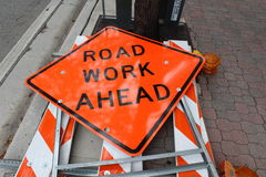 Road Work Ahead Sign. In Fort Lauderdale while construction is being done Stock Photo