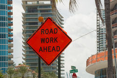 Road work ahead sign Royalty Free Stock Image
