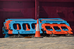 Road work barrier and cone Royalty Free Stock Photo