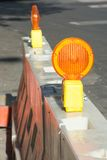 Road work barries and reflectors. Road work barries and orange reflectors Royalty Free Stock Photos