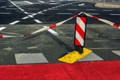 Road work on city streets, road closed for traffic Royalty Free Stock Images