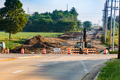 Road work continues on this long closed street Stock Photography