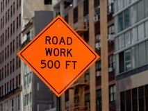 Road Work 500 ft sign. Road Work 500 feet sign Royalty Free Stock Photography