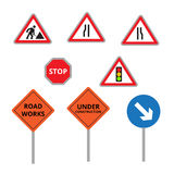 Road work icons or artworks elements set Royalty Free Stock Image