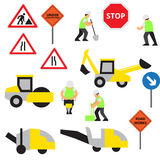 Road work icons or artworks elements set Royalty Free Stock Photos