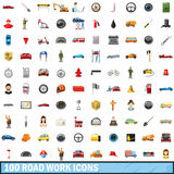100 road work icons set, cartoon style. 100 road work icons set in cartoon style for any design vector illustration Royalty Free Stock Photo