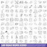 100 road work icons set, outline style Stock Images
