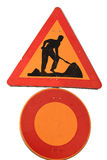 Road work sign. Close up road work sign isolated with white background stock photos