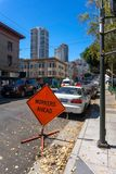 Road work sign ahead on the San Francisco streets Stock Image