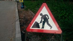 Road work sign. On local road in uk royalty free stock photos