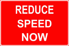 Road work sign reduce speed now Stock Images