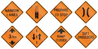 Road Work Signs in Ontario - Canada Royalty Free Stock Photos