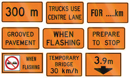 Road Work Signs in Ontario - Canada Royalty Free Stock Photo