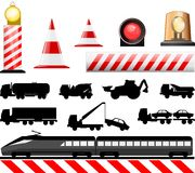 Road Work Symbols. Essential illustration that describes the work in progress indications , train and rail crossing Stock Photo