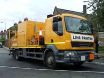 Road work truck. Lin Painting Truck. Road Maintenance. Royalty Free Stock Photo